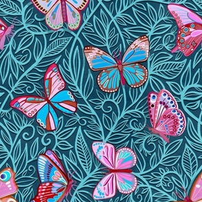 Butterfly Art Nouveau in Pink and Blue - large print