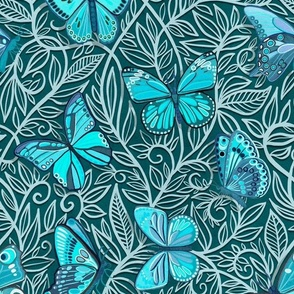 Butterfly Art Nouveau in Turquoise and Teal - large print