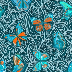 Butterfly Art Nouveau in Orange and Blue - large print