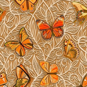 Butterfly Art Nouveau in Apricot and Caramel - large print