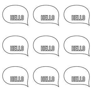 hello speech bubble 24 inch x 12 inch wallpaper swatch mod baby coloring