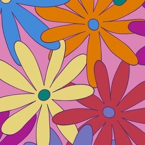 Mod Daisy Floral - Retro Colors - JUMBO