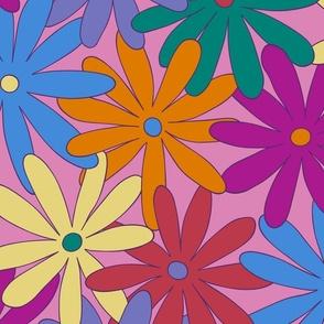 Mod Daisy Floral - Retro Colors - LARGE