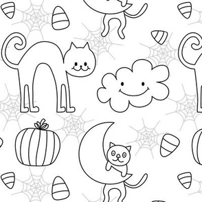 doodle cats halloween coloring