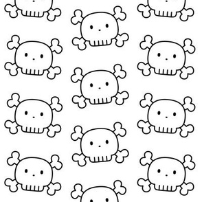 cute skulls black and white coloring - halloween
