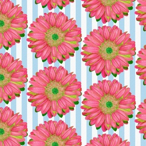 Pink Gerbera Daisies on Blue and White Stripes - Quarter Drop Repeat (Large)