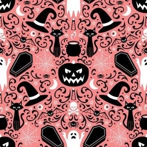 Halloween Damask (Coral)