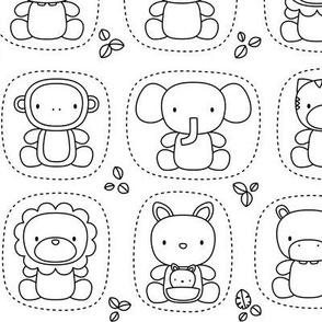 animal babies black and white coloring - jungle baby lions tigers monkeys elephants giraffes kangaroos hippos koalas - nursery decor pattern boys girls