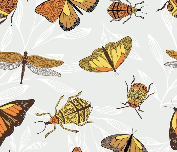 Floral Retro Insects by Lisa Rudman