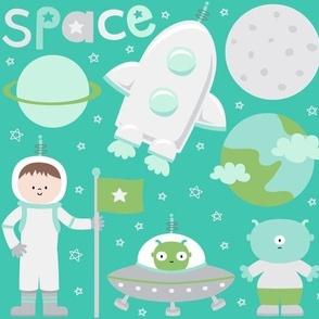 space cuties on teal