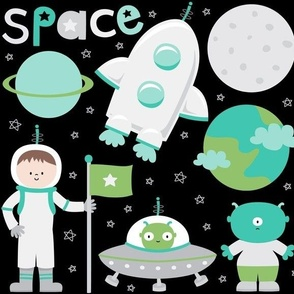 space cuties on black with teal