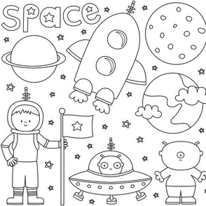 space cuties black and white coloring