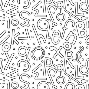 soupy alphabet black and white coloring ABC's