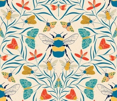 Damask Bugs  Bees Butterflies in Retro Color palette large