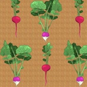Radish and Turnip on Beige Linen Look