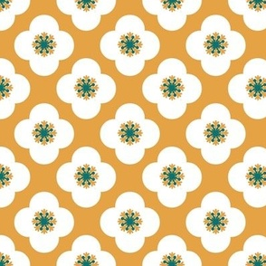 poppy geometric in teal and turmeric golden yellow with white