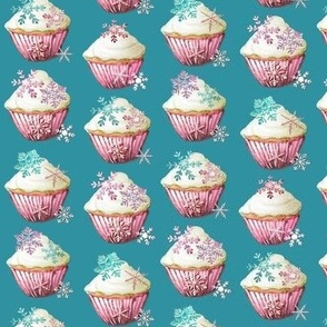 Snowflake fabric and wallpaper or décor in teal, sea glass and white, ideal for Christmas projects