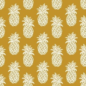 Pineapple fabric and wallpaper mustard yellow and white