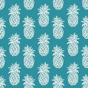 Pineapple fabric and wallpaper in Lagoon blue and white
