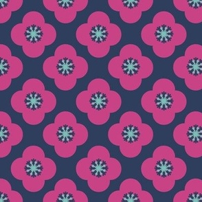 poppy geometric quatrefoil in fuchsia and navy