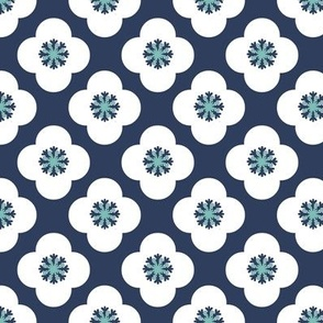 poppy geometric floral quatrefoil in navy and white