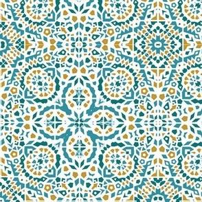 Teal and yellow Marrakesh Mini Bohemian teal, blue & rust mosaic