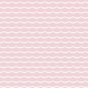 Scallop blush pink and white