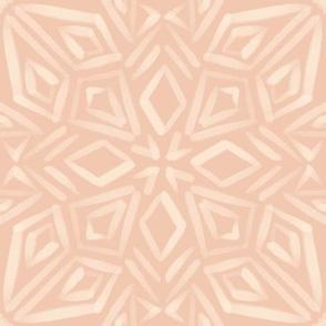 Geometric cream mandala on peach