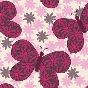 Berry floral butterflies, large scale wallpaper and medium scale fabrics