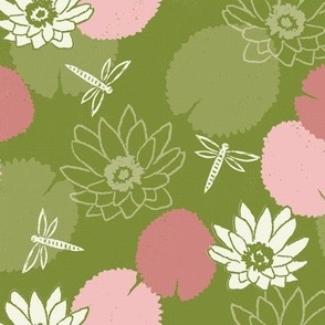 water lily dragonfly floral pink and green medium scale