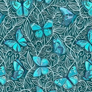 Butterfly Art Nouveau in Turquoise and Teal - small print