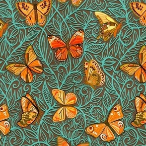 Butterfly Art Nouveau in Retro Orange and Teal - small print