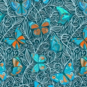 Butterfly Art Nouveau in Orange and Blue - small print