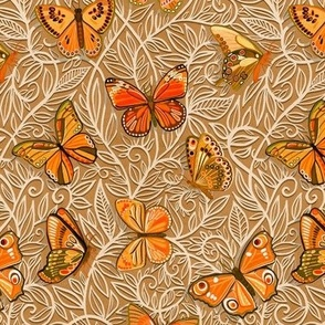 Butterfly Art Nouveau in Apricot and Caramel - small print