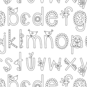 XL bloomified alphabet black and white coloring ABC's