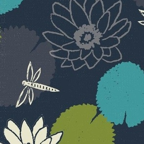 water lily dragonfly floral navy xxx scale