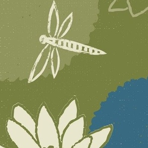water lily dragonfly floral green