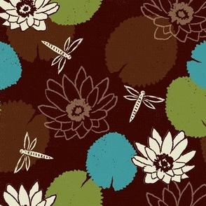 water lily dragonfly floral brown