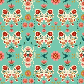 Retro Floral Bug and butterfy