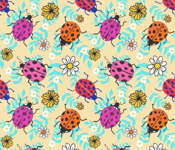 retro ladybugs pattern