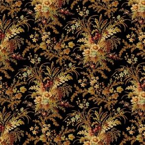 De Weese Victorian Bouquet on Black ~ Vivid ~ Medium