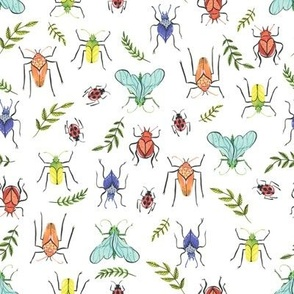 Small  - Painted Bugs and Leaves in Rainbow Colours on White