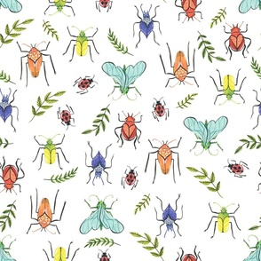 Medium  - Painted Bugs and Leaves in Rainbow Colours on White