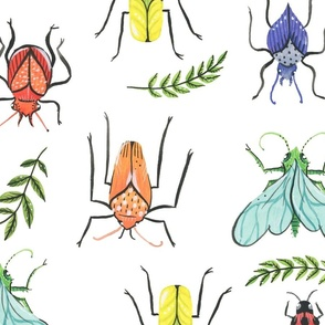 Large - Painted Bugs and Leaves in Rainbow Colours on White