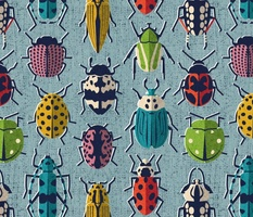 These don't bug me // normal scale // duck egg blue background green yellow neon red orange pink blue and black and ivory retro paper cut beetles and insects
