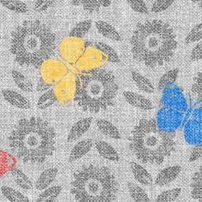 Butterflies, 80s Colors (xl scale)   Hand block printed butterflies in eighties primary colors, scandi retro print, scandi flowers, block print sunflowers in red, blue, yellow and gray.
