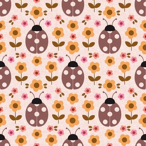 Retro ladybug with flowers