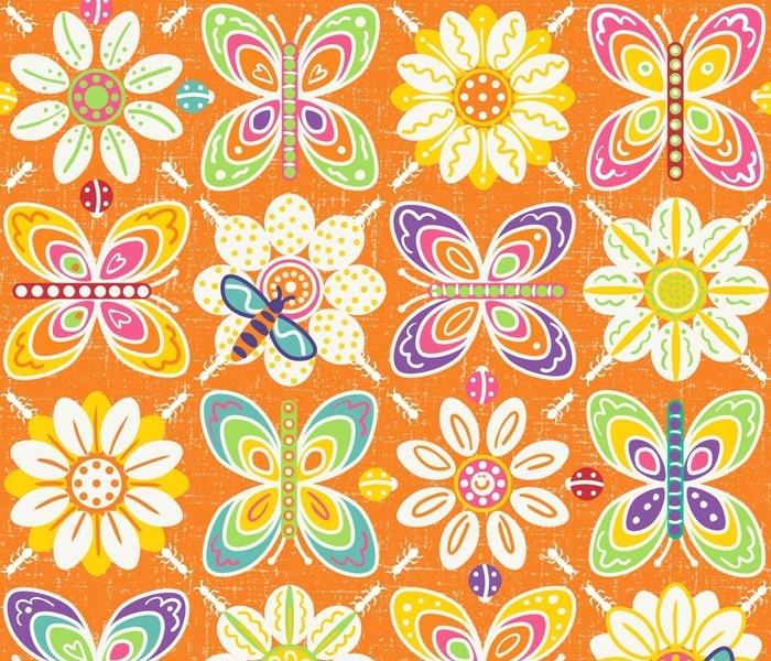 Garden Friends- Retro Bugs Orange Medium scale