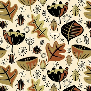 Retro Beetle Garden - Rust - Large