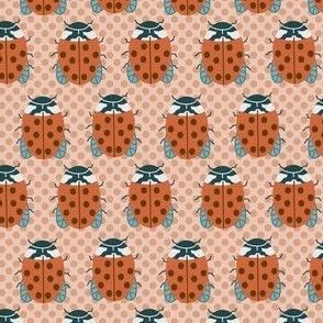 Retro Ladybugs on Polka Dots in Orange Peach Blue Green